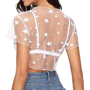 7a3ab2e0037677 Urban Outfitters Tops - Sheer White Star Print Sexy Layering Crop Top